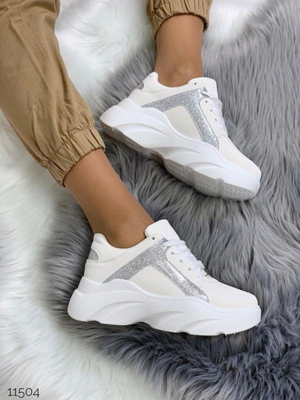 Массивные белые кроссовки на высокой подошве,стильные белые кр... - Фото 8