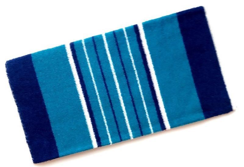 Полотенце лицевое махровое полосатое бирюзовый с синим 100*50 - Фото 2