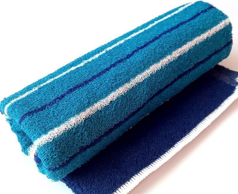 Полотенце лицевое махровое полосатое бирюзовый с синим 100*50 - Фото 3