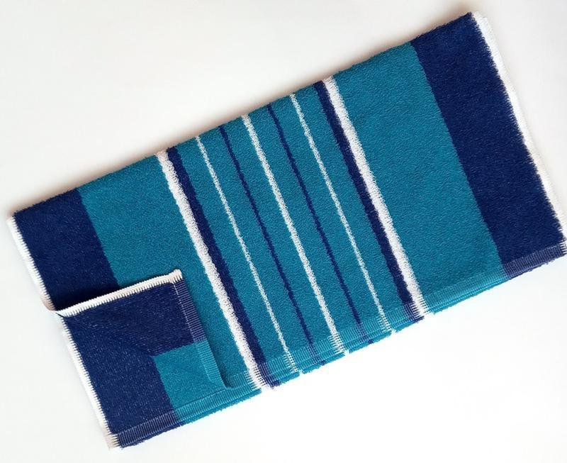 Полотенце лицевое махровое полосатое бирюзовый с синим 100*50 - Фото 4