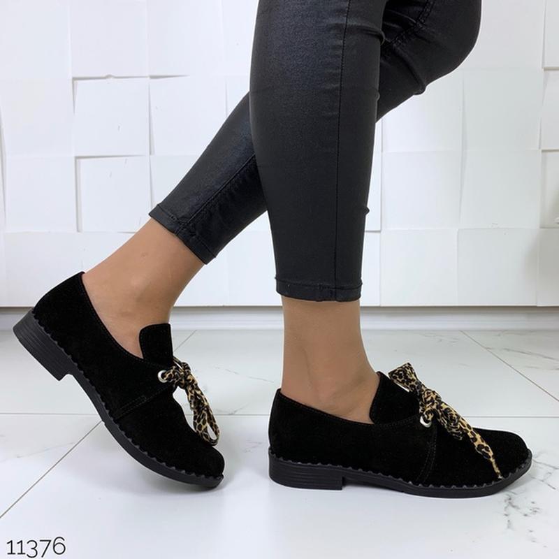 Чёрные замшевые туфли на низком ходу,чёрные лоферы из натураль... - Фото 2