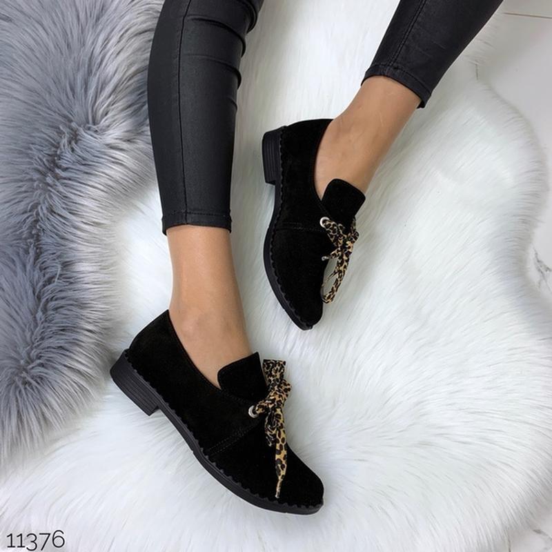 Чёрные замшевые туфли на низком ходу,чёрные лоферы из натураль... - Фото 4