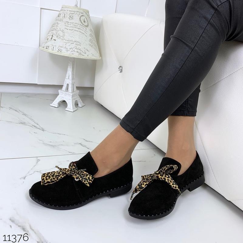 Чёрные замшевые туфли на низком ходу,чёрные лоферы из натураль... - Фото 5