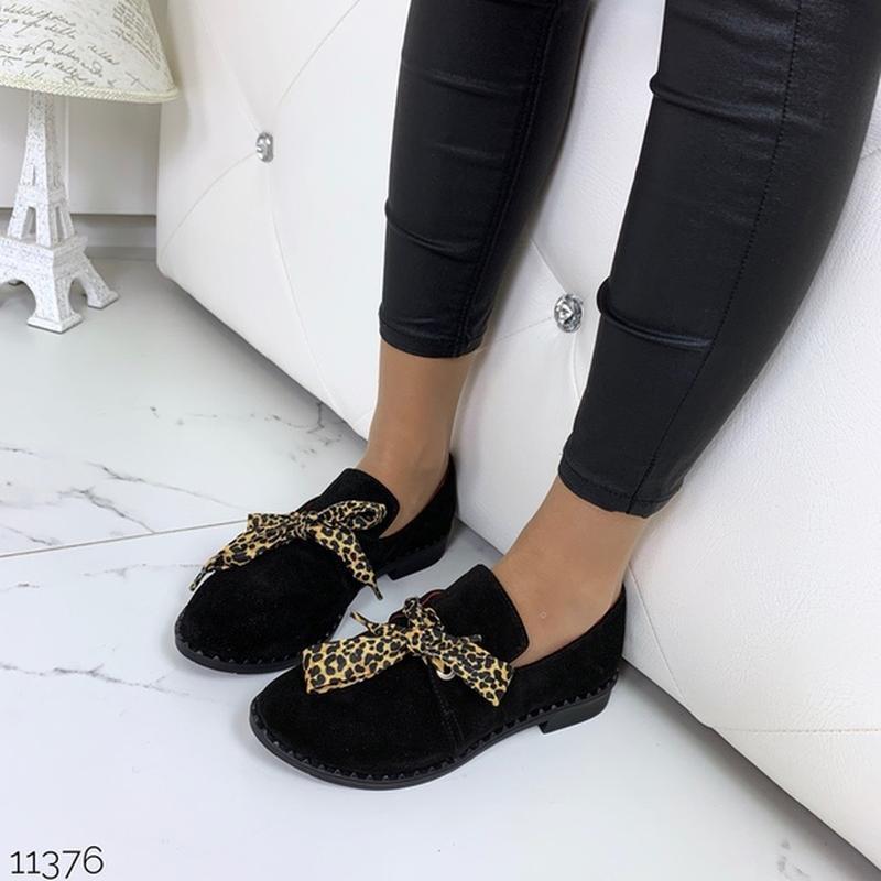 Чёрные замшевые туфли на низком ходу,чёрные лоферы из натураль... - Фото 6