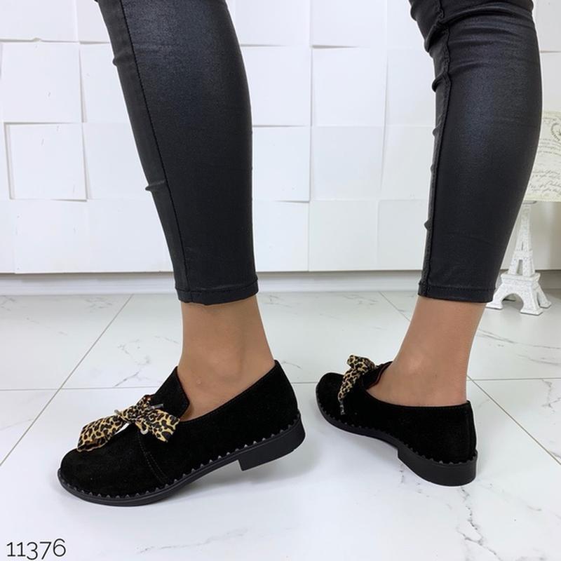 Чёрные замшевые туфли на низком ходу,чёрные лоферы из натураль... - Фото 7