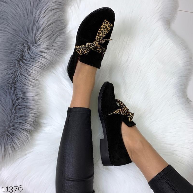 Чёрные замшевые туфли на низком ходу,чёрные лоферы из натураль... - Фото 8