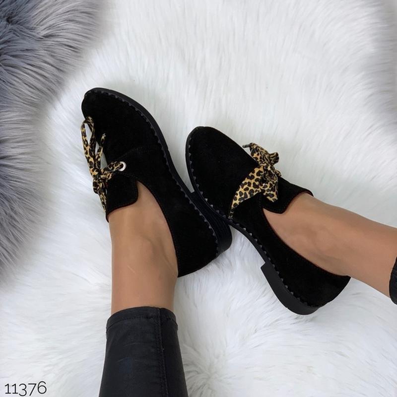 Чёрные замшевые туфли на низком ходу,чёрные лоферы из натураль... - Фото 9