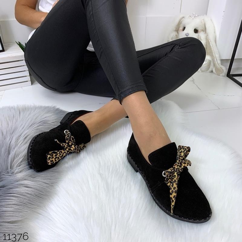 Чёрные замшевые туфли на низком ходу,чёрные лоферы из натураль... - Фото 10