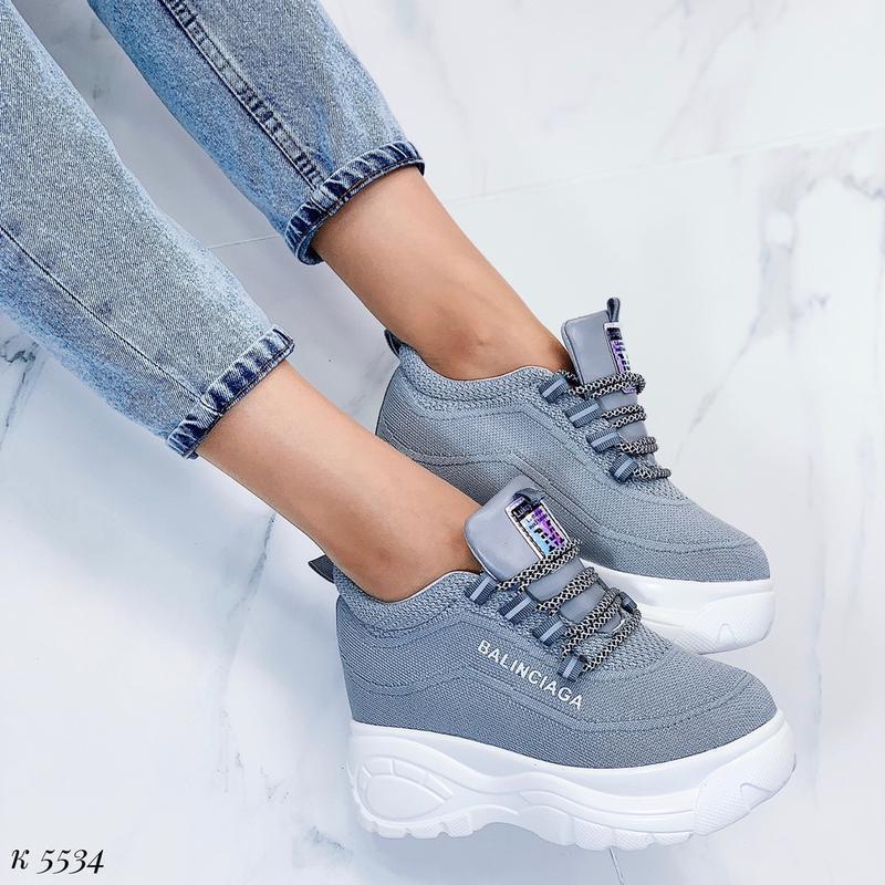 Стильные серые массивные кроссовки, текстильные кроссовки на в...