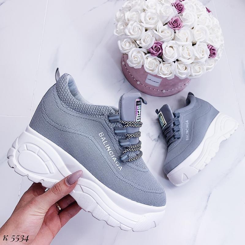 Стильные серые массивные кроссовки, текстильные кроссовки на в... - Фото 3