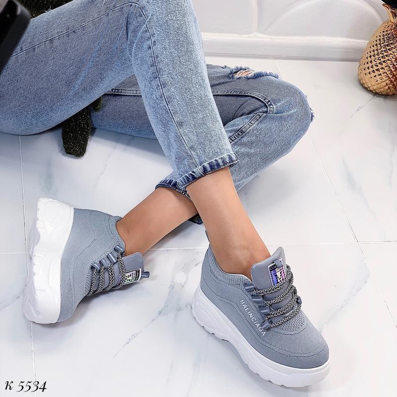 Стильные серые массивные кроссовки, текстильные кроссовки на в... - Фото 5