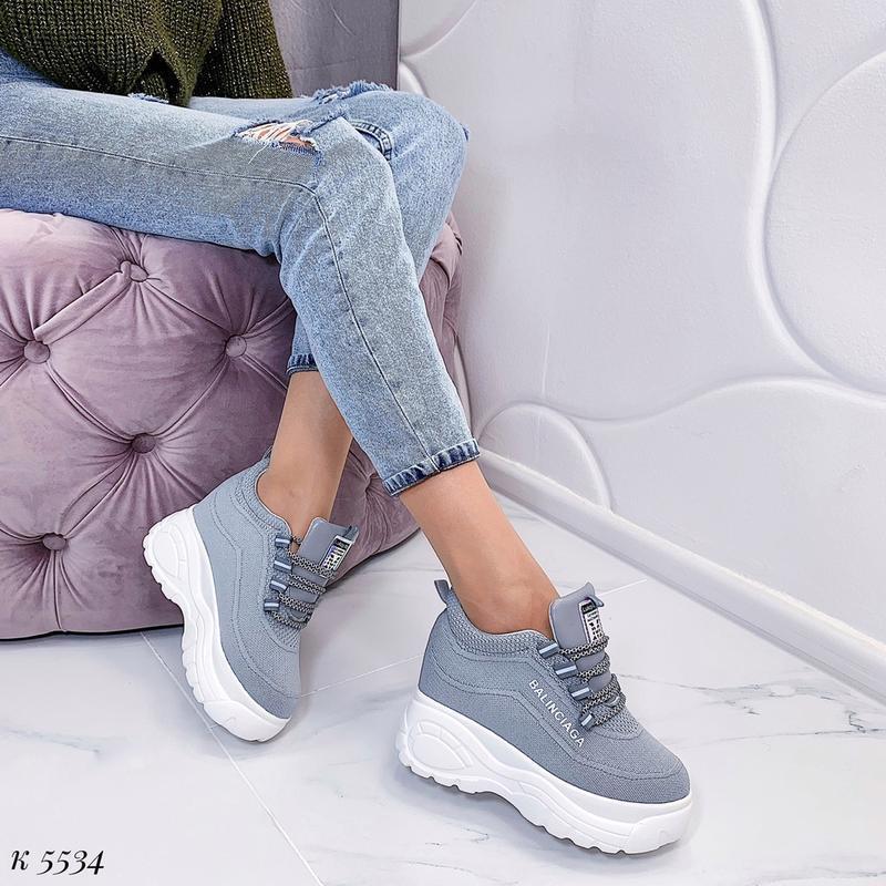 Стильные серые массивные кроссовки, текстильные кроссовки на в... - Фото 6