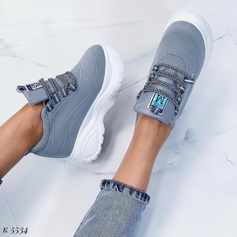 Стильные серые массивные кроссовки, текстильные кроссовки на в... - Фото 7