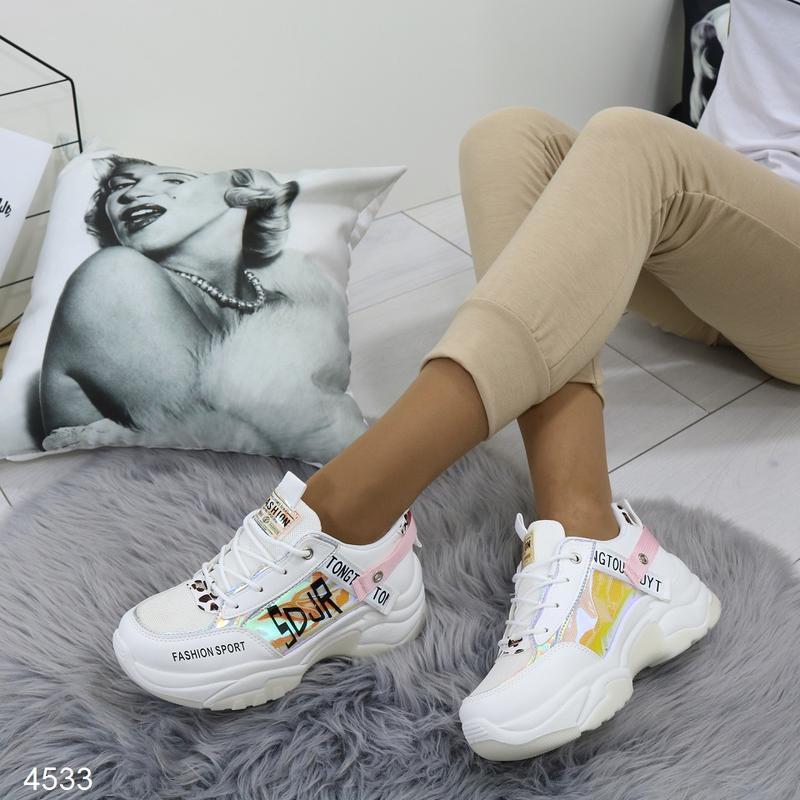 Белые кроссовки с цветными вставками, массивные кроссовки с го... - Фото 4