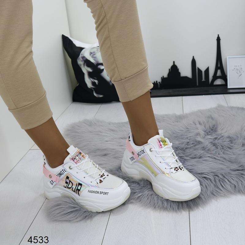 Белые кроссовки с цветными вставками, массивные кроссовки с го... - Фото 5