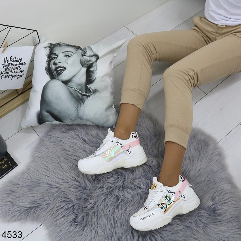 Белые кроссовки с цветными вставками, массивные кроссовки с го... - Фото 6