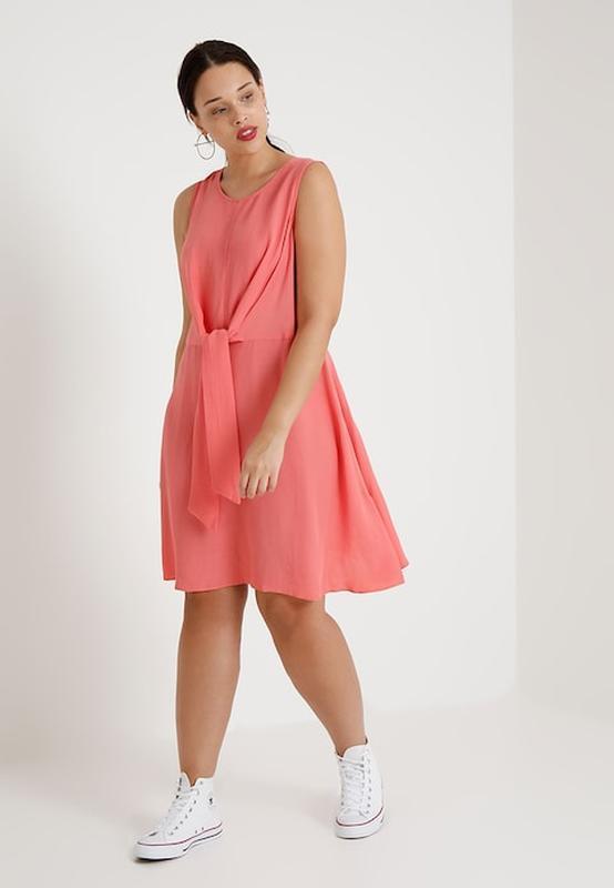 Коралловое платье с завязкой летнее батал большой размер new l...