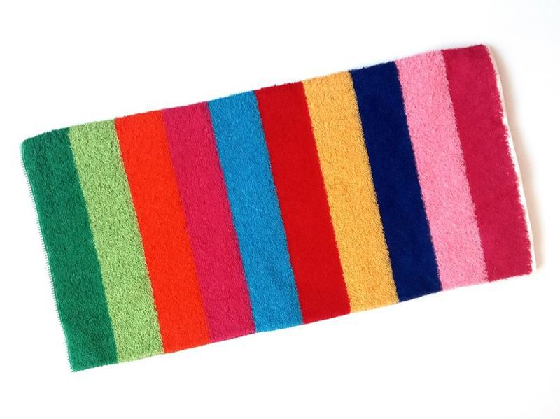 Полотенце лицевое махровое в полоску разноцветное 100*50