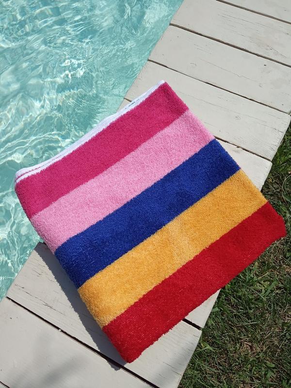 Полотенце лицевое махровое в полоску разноцветное 100*50 - Фото 2