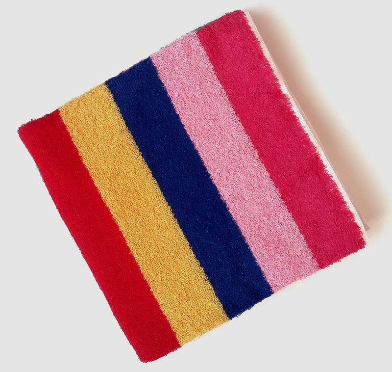 Полотенце лицевое махровое в полоску разноцветное 100*50 - Фото 3