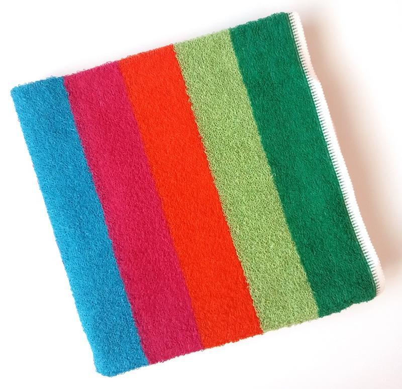 Полотенце лицевое махровое в полоску разноцветное 100*50 - Фото 4