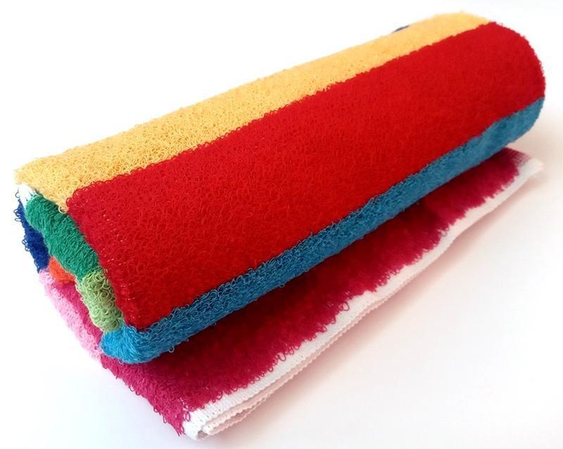 Полотенце лицевое махровое в полоску разноцветное 100*50 - Фото 5