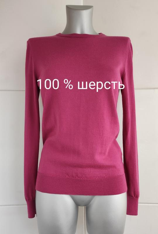 Базовый шерстяной свитер uniqlo из тонкой пряжи розового цвета