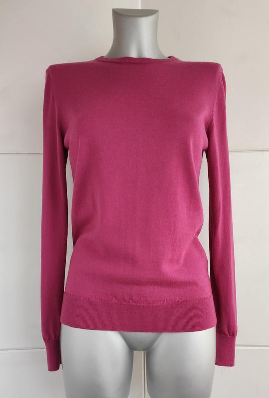 Базовый шерстяной свитер uniqlo из тонкой пряжи розового цвета - Фото 4