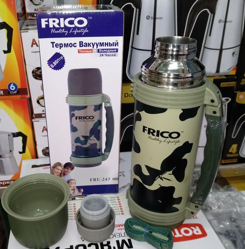 Термосы из нерж. стали с ручкой militari FRICO объем 0,6, 0,8, 1, - Фото 2