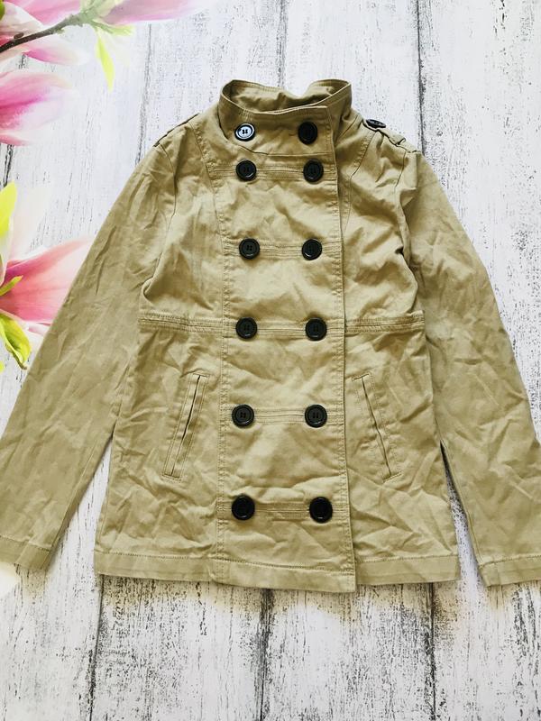 Крутая куртка пальто плащ ветровка джинсовая h&m размер 10-11лет