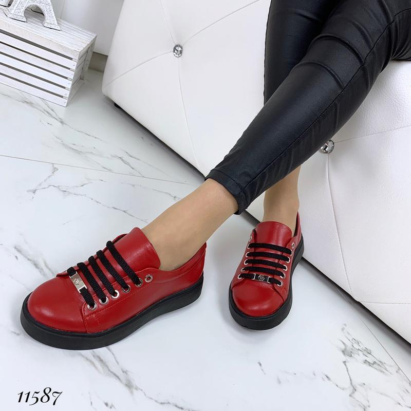 Красные кеды из натуральной кожи отличного качества - Фото 5