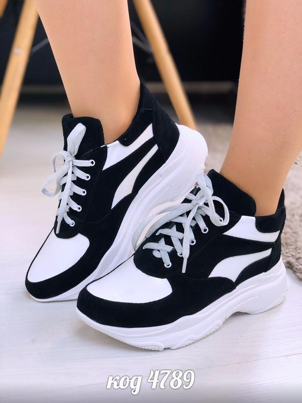 Чёрно-белые высокие кроссовки из натуральной кожи и замши