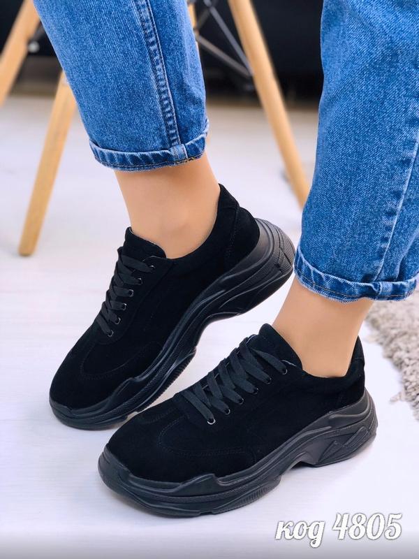 Шикарные черные кроссовки из натуральной замши