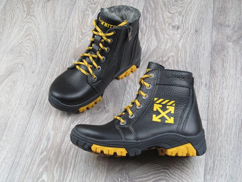 Зимние кожаные ботинки на натуральной шерсти для мальчика. 32-...
