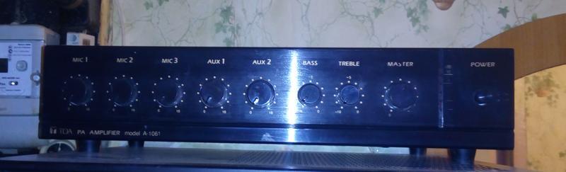 Трансляционный усилитель TOA A-1061, микшер, 220В/12В, 60/90Вт