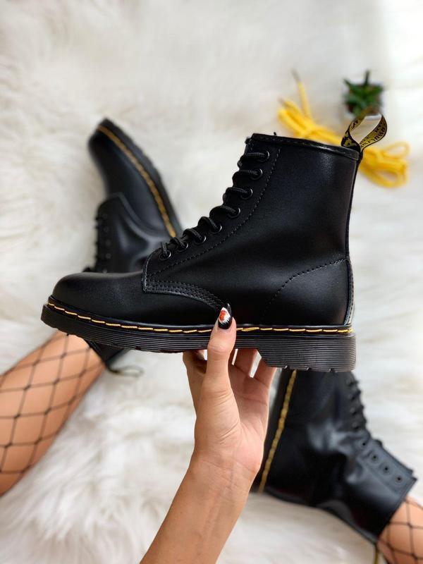 Шикарные женские ботинки dr. martens 1460 black - Фото 7