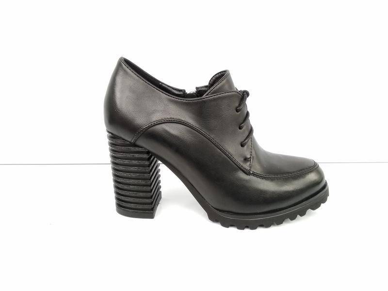 Черные туфли на каблуке, чорні туфлі на каблуку 38р-24,5 см - Фото 3