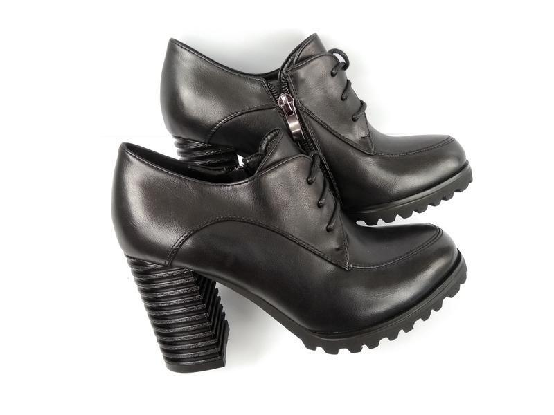 Черные туфли на каблуке, чорні туфлі на каблуку 38р-24,5 см - Фото 5