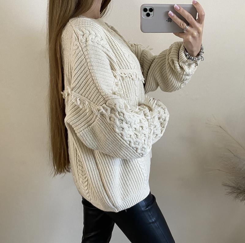 Очень тёплый бежевый свитер no name - Фото 3
