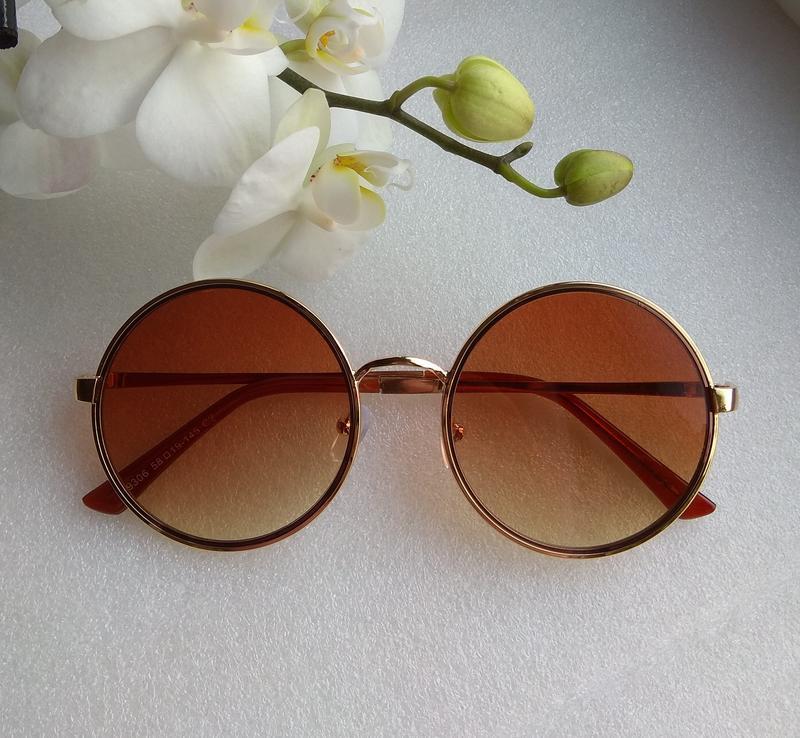 Новые стильные очки кругляшки, коричневые
