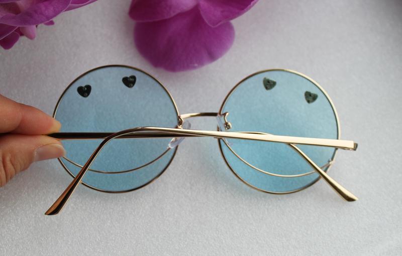 Новые стильные очки круглые, смайлы, голубые
