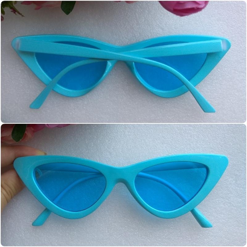 Новые яркие, стильные очки лисички, голубые