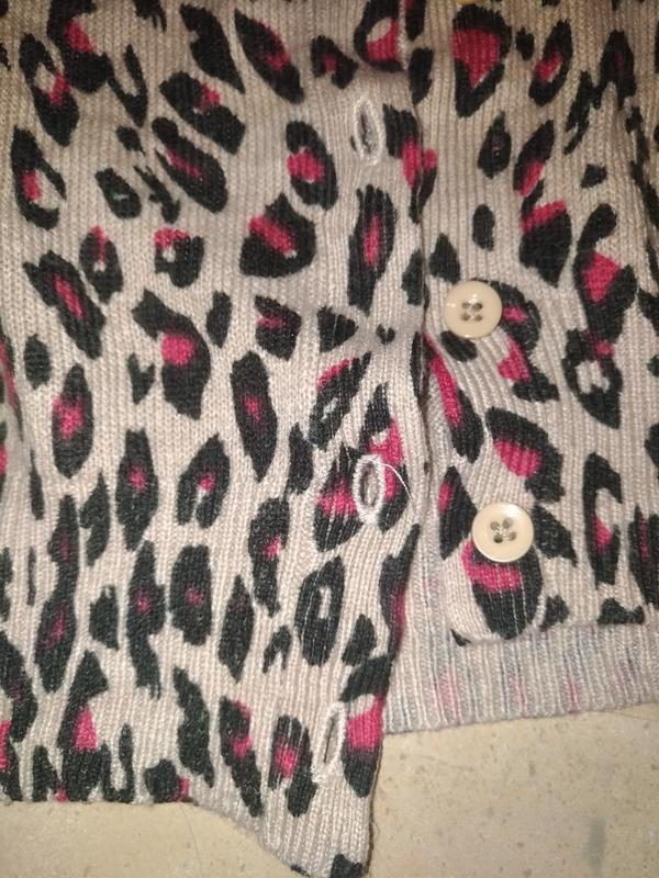 Анималистичный принт леопард кардиган до талии  кофта пуловер ... - Фото 4