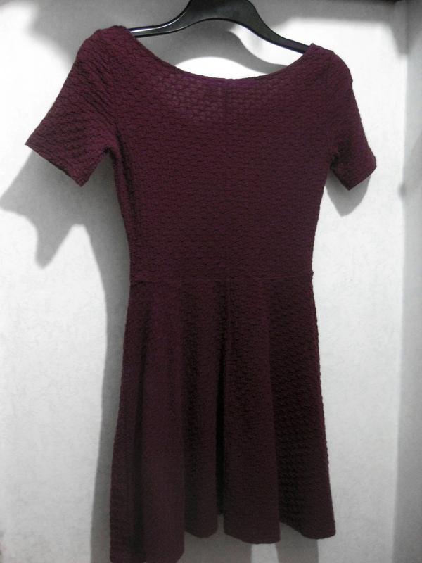 Платье h&m бордовое цвет марсала полиэстер коттон хлопок факту...