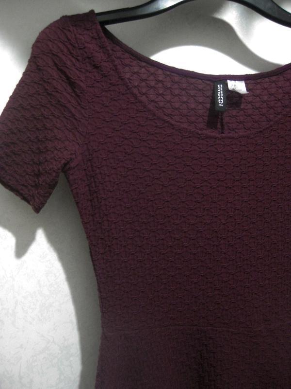Платье h&m бордовое цвет марсала полиэстер коттон хлопок факту... - Фото 2