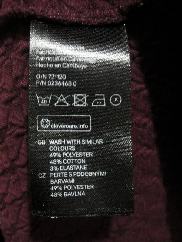 Платье h&m бордовое цвет марсала полиэстер коттон хлопок факту... - Фото 5