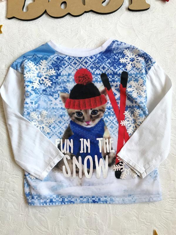 Стильный новогодний реглан/свитер/кофта с котиком tu