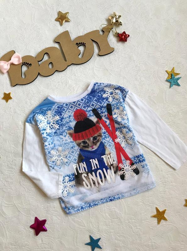 Стильный новогодний реглан/свитер/кофта с котиком tu - Фото 3