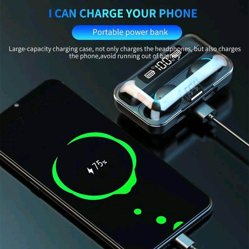Bluetooth наушники F9/5c Беспроводные - LED Display. Power Bank - Фото 6