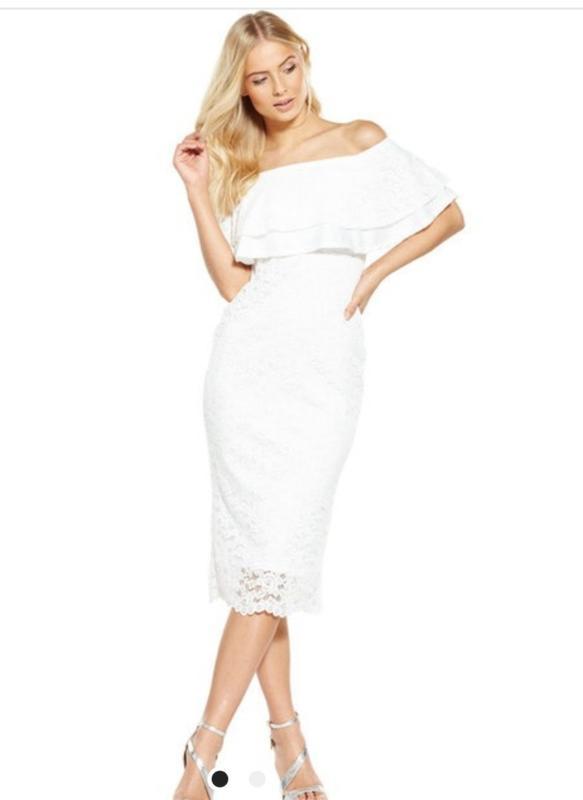 Платье белое новое кружевное размер 10